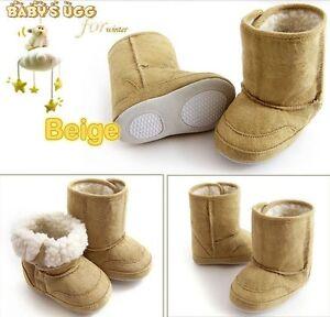 Baby Kleinkind warmer Winter Stiefel Fellfutter Junge Mädchen 6-24months beige