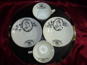 Pair-QUEEN-VICTORIA-Golden-Jubilee-1887-Cups-amp-Saucers-ROYAL-WARE-Memorabilia