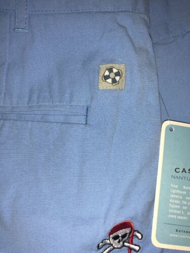 NWT Castaway Cisco Shorts Baby Blue Periwinkle Embroidered Skulls Sz 28 B-01