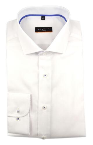 Eterna Uomo Manica Lunga Business Camicia Slim Fit struttura SHARK BIANCO 3684.00.f182