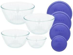 8 pc PYREX Clear SCULPTURED Glass Mixing Bowl Set 4.5 Qt.10, 6, 3 ...