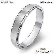 Plain Men's Wedding Band Dome Milgrain Edge Ring 4mm Platinum 7.4g Size 12-12.75