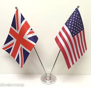 set drapeaux de table drapeau anglais et am ricain usa amiti chrome et satin ebay. Black Bedroom Furniture Sets. Home Design Ideas