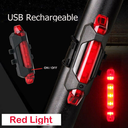 500LM 2 LED USB Rechargeable Bike Light Lamp Front Bicycle Red Tail Headlight