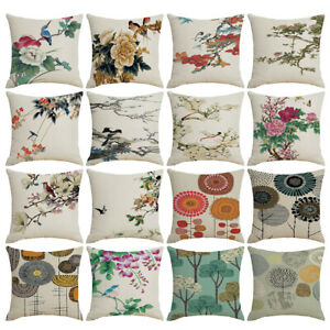 Am-Vintage-Linen-Flower-Birds-Pillow-Case-Cushion-Cover-Bed-Sofa-Home-Decor-Nov