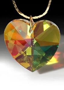 Heart-8781-28mm-Strass-Swarovski-Amber-Lt-Topaz-AB-Prism-Pendant-LOGO-1-1-8-inch