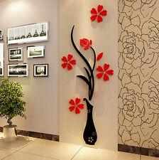 3D RED Flower Mirror Wall Decals Stickers Art DIY Home Room Vinyl Decor H0S