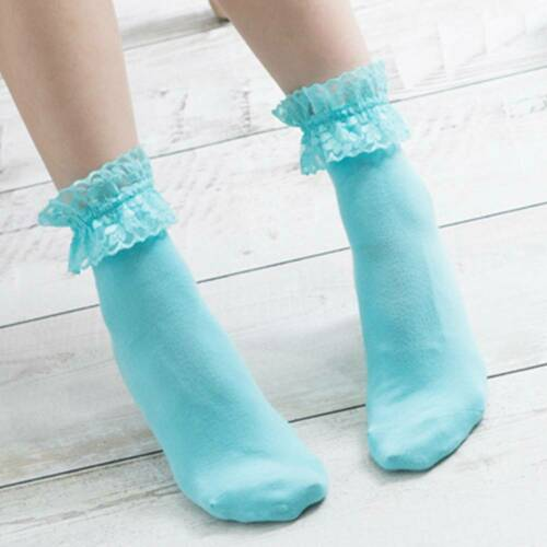 1 Pair Girls Vintage Lace Ruffle Frilly Ankle Socks Solid Color Cotton Socks