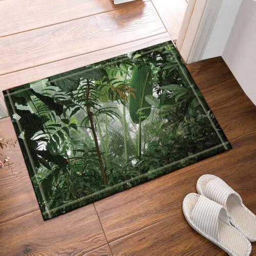 Jungle Banana Leaves Design Bathroom Bath Waterproof Fabric Shower Curtain Set