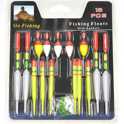 15pcs/Set Assorted Sizes Fishing Lure Floats Bobbers Slip Drift Tube Indicator