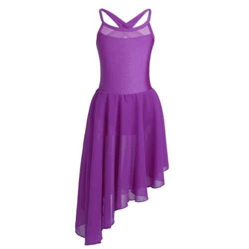 Girl Lyrical Gymnastics Leotard Ballroom Dress Ballet Dance Tutu Skirt Dancewear