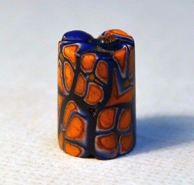 Antique European Glass Venetian Orange Italian Millefiori Bead, African Trade
