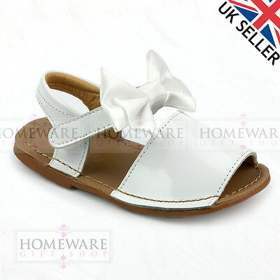 GIRLS BABY SPANISH BOW SANDALS LEATHER PATENT WHITE PINK NAVY IVORY MENORCAN STY