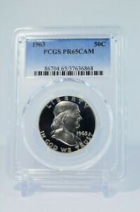 PR65-CAM-1963-PCGS-GRADED-FRANKLIN-90-SILVER-HALF-DOLLAR-50C-PROOF-CAMEO-COIN