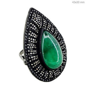 New-Emerald-Gemstone-PEAR-Cocktail-Ring-925-Sterling-Silver-Diamond-Pave-Jewelry