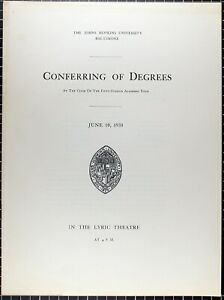 1930-Johns-Hopkins-University-JHU-Baltimore-Conferring-of-Degrees-Booklet-Old