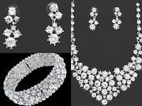 Silver Crystal Wedding Bridal Necklace Bracelet 3pc Jewellery Set Party, Prom