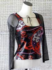 CUSTO BARCELONA~SPAIN~Art-to-Wear Paillette Graphic & Crochet Sexy Stretch Top~S