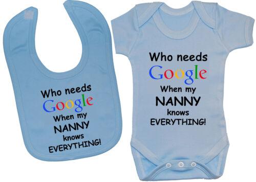 Who Needs Google Nanny Baby Bodysuit Romper T-Shirt /& Feeding Bib 0-24m Boy Girl