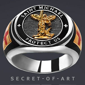 SAINT-ST-MICHAEL-ERZENGEL-PROTECT-US-SILBER-925-RING-24K-GOLD-PLATED