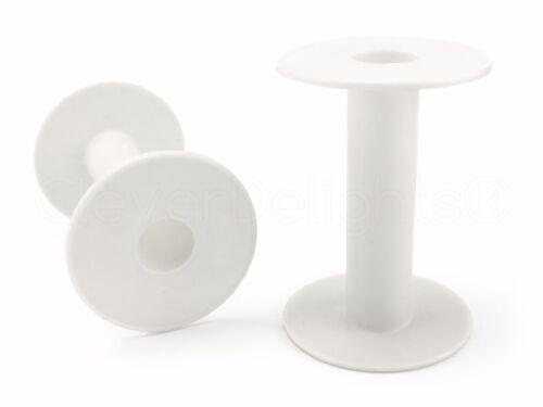 "6 Pack 3.75/"" White Large Plastic Spools Thread Cord Chain Empty Spools"