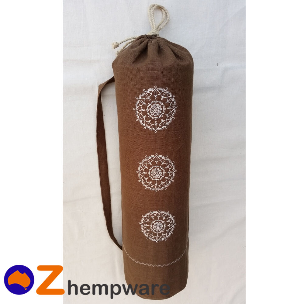 YOGA MAT CARRY BAG ECO HEMP ORGANIC EMBROIDERY PILATES FITNESS