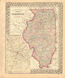 Springfield Usa Map.1874 Antique Map Usa Illinois Vicinity Of Springfield Ebay