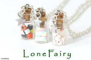 Miniature-Mini-Bottle-Jar-Chain-Necklace-Silver-Bronze-Keys-Fruit-Sweets-Cards