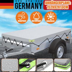 Anhaengerplane-Flachplane-Anhaenger-Abdeckplane-Wasserdicht-Gummiseil-152x92x13cm
