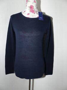 Neuer Leichter CECIL Damen Pullover mit Struktur Gr XS Marineblau Rundhals