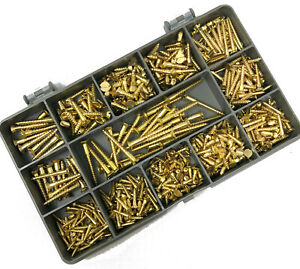 440-ASSORTED-PIECE-SOLID-BRASS-2g-3g-4g-6g-SLOT-COUNTERSUNK-CSK-WOOD-SCREWS-KIT