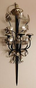 Vintage-Italian-Sconce-Tole-Black-Silver-Sword-Wall-Candle-Holder-1950s