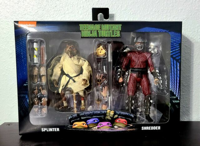 NECA TMNT Teenage Mutant Ninja Turtles Shredder Vs Splinter 2 Pack In Hand