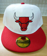 Chicago Bulls Sports Cap NBA Basketball Hat Snapback Style 57cm 7 White Red NEW