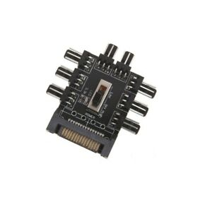 Cables PC 12V SATA 1 to 8 3pin Power Socket PCB Adapter SATA 1 to 8 Way Cooling Fan Splitter Hub Cooler Cooling Fan Hub Computer Cable Length: Other