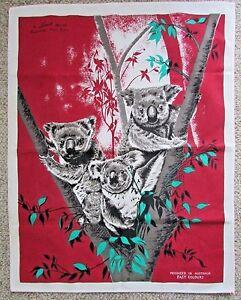 Liddell Design Linen Tea Towel Australian Koala Bears Fast Colours Vintage