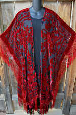 "ART TO WEAR  CRIMSON BLACK LONG SILK VELVET BURNOUT KIMONO JACKET 76""B,OS+, NWOT"