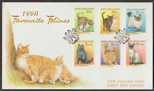 (F103)NEW ZEALAND 1998 FAVOURITE FELINES CATS  FDC FACE VALUE NZ$6.70