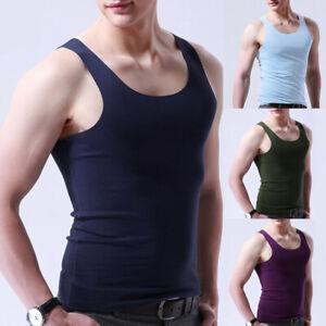 Summer-Men-Ice-Silk-Sport-Tank-Sleeveless-Top-Undershirt-Slim-Vest-T-Shirt-Solid