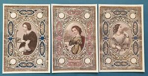 Set-of-3-Beautiful-Victorian-Fashion-Textile-Patterned-Postcards-85M