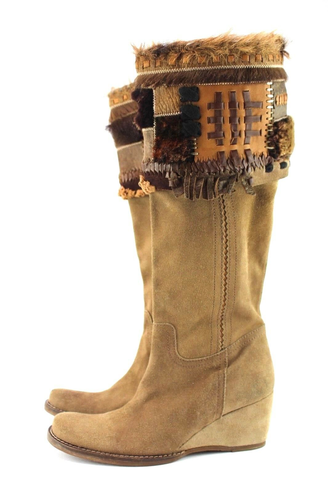 Womens Unique Boho Patchwork Tan Fur Suede Boots Wedge US 8 M Apepazza