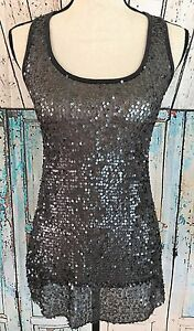 H-i-P-Happening-In-The-Present-Hi-Lo-Tank-Top-Women-XS-Gray-Sequin-Blouse-Shirt