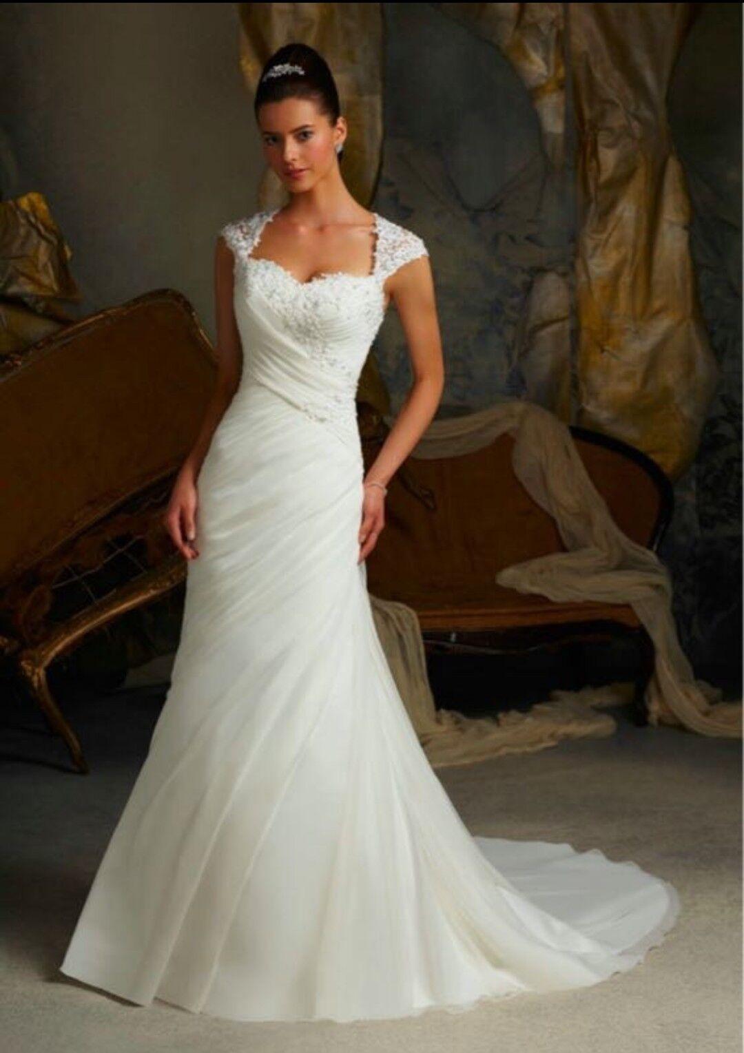 Luxury Organza Wedding Dresses White Size12 UK seller Custom Made to Measure