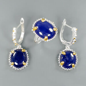 Handmade-SET-Natural-Blue-Sapphire-925-Sterling-Silver-Ring-Size-6-5-R88263