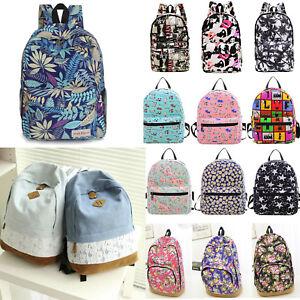 fcc1632c828b Image is loading Women-Girls-Floral-Backpack-School-Bookbag-Shoulder-Bags-