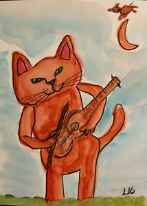 aceo original nursery rhyme cat fiddle cow moon painting