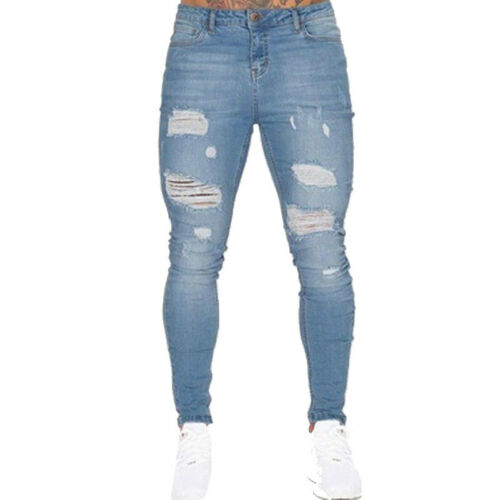 Mens Super Stretch Skinny Jeans Ripped Distressed Pants Denim Fitness Trousers