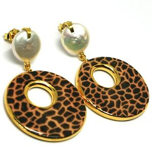 Ohrringe-Silber-925-Ohrhaenger-Perlen-Barock-Flach-Oval-Effect-Leopard