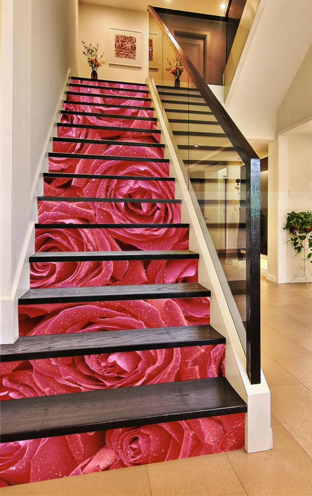 3D rot Petals 23 Stair Risers Decoration Photo Mural Vinyl Decal WandPapier US