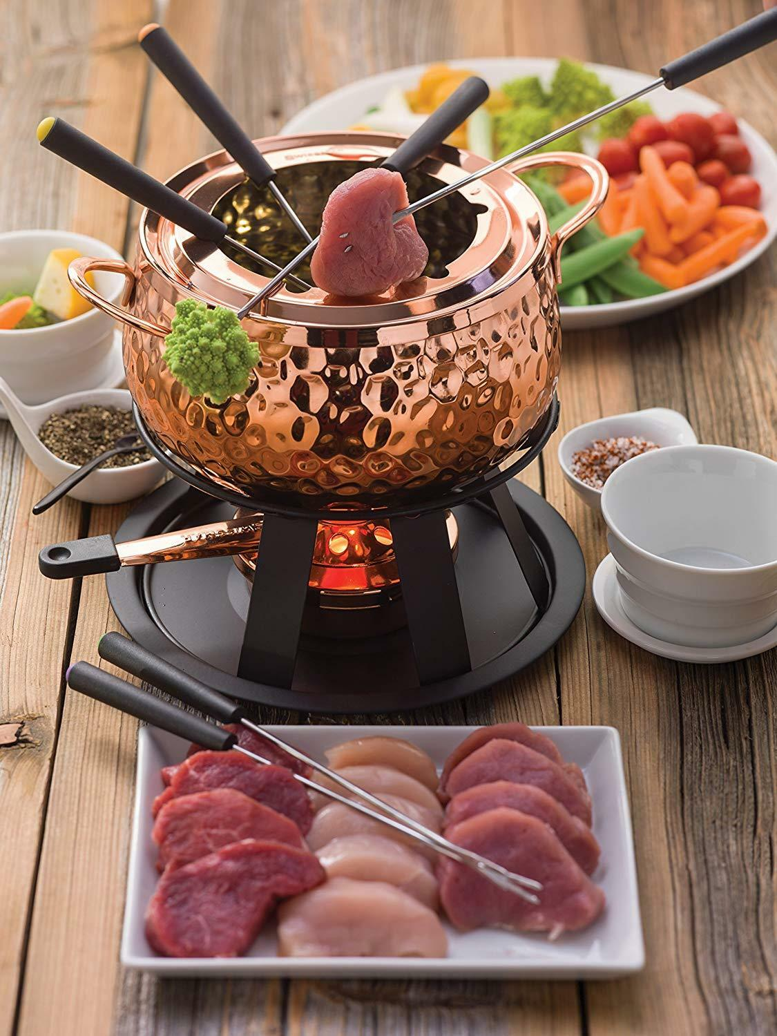 Meat Fondue Set Copper Kitchen Cookware Traditional Antique Style Durable Sturdy